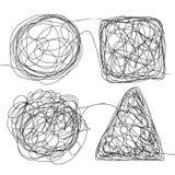 De Schets Vastgestelde Vector van de verwarringsgekrabbel De Tekeningsdriehoek van de krabbeltekening, Vierkant, Cirkel Het oplos Stock Afbeeldingen