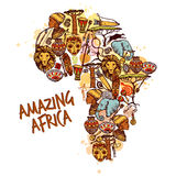 De schetsconcept van Afrika Stock Foto's
