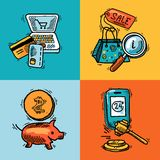De schetsconcept van het elektronische handelontwerp Stock Afbeelding
