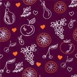 De schetsen naadloos patroon van vruchten Stock Foto's