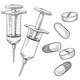 De schetsen van de geneeskunde of van de drug Stock Foto's