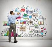 De schetsen van de zakenmantekening op muur Stock Foto