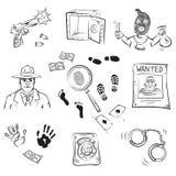 De Schetsen van het Verhaal van de misdaad Stock Afbeeldingen
