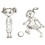 De schetsen van meisjes Stock Afbeelding