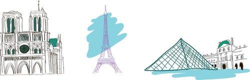 De Schetsen van Ttravel - Parijs stock illustratie
