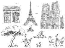 De schetseninzameling van Parijs stock illustratie