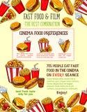 De schetsfastfood van snel voedselsnacks vectormaaltijd Royalty-vrije Stock Afbeeldingen