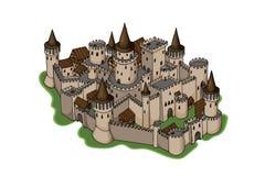 De Schetsillustratie van het fantasieavontuur van oude die stad op witte achtergrond wordt geïsoleerd royalty-vrije stock afbeelding