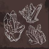 De schetsillustratie van kristalgemmen Royalty-vrije Stock Foto's