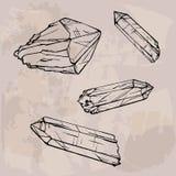 De schetsillustratie van kristalgemmen Stock Fotografie