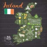 De Schetskrabbels van Ierland Hand Getrokken Ierse die Elementen met vlag en kaart van Ierland, Keltisch Kruis, Kasteel, Klaver,  Royalty-vrije Stock Afbeelding