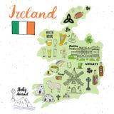 De Schetskrabbels van Ierland Hand Getrokken Ierse die Elementen met vlag en kaart van Ierland, Keltisch Kruis, Kasteel, Klaver,  Royalty-vrije Stock Fotografie