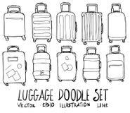 De Schetslijn van de bagagehand getrokken krabbel Royalty-vrije Stock Foto's
