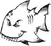 De schetsmatige Gemiddelde Vector van vissen royalty-vrije illustratie