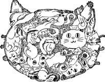 De schetsmatige krabbel van het kattengezicht Stock Afbeeldingen