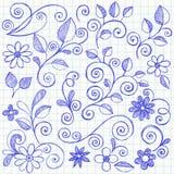 De schetsmatige Krabbels van het Notitieboekje van Bladeren en van Wijnstokken Stock Foto