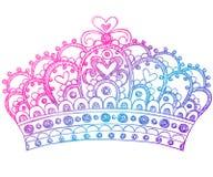 De schetsmatige Krabbels van het Notitieboekje van de Kroon van de Tiara van de Prinses Royalty-vrije Stock Afbeeldingen