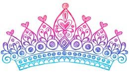 De schetsmatige Krabbels van het Notitieboekje van de Kroon van de Tiara van de Prinses Stock Foto's