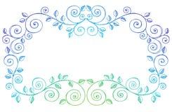 De schetsmatige Krabbels van het Notitieboekje wervelt de Grens van Wijnstokken Stock Afbeeldingen