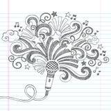 De Schetsmatige Krabbels Vectorillustrati van de microfoonmuziek Stock Foto's