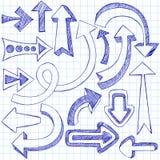De schetsmatige Pijlen van de Krabbel van het Notitieboekje Stock Afbeeldingen