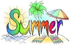 De schetsmatige regenboog van de de zomergraffiti tittle Stock Afbeeldingen