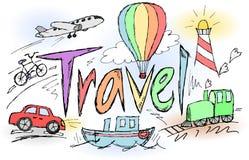 De schetsmatige regenboog van de reis grafitty titel Stock Foto