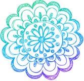 De schetsmatige Vector van de Bloem van de Henna van de Krabbel Stock Fotografie