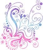 De schetsmatige Vector van de Bloemen en van de Wijnstokken van de Krabbel Royalty-vrije Stock Fotografie