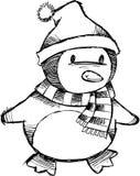 De schetsmatige Vector van de Pinguïn van Kerstmis Royalty-vrije Stock Foto