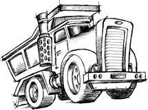 De schetsmatige Vector van de Vrachtwagen van de Stortplaats Stock Afbeelding