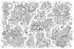 De schetsmatige vectorhand getrokken reeks van het Krabbelbeeldverhaal van Royalty-vrije Stock Afbeelding