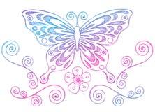 De schetsmatige Vlinder en de Wervelingen van de Krabbels van het Notitieboekje Stock Afbeelding