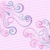 De schetsmatige Wervelingen van de Krabbel op het Document van het Notitieboekje Royalty-vrije Stock Foto