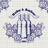De schetsontwerp van het wijnmakerijembleem royalty-vrije illustratie