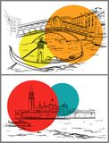 De schetsontwerp van Venetië Stock Afbeeldingen