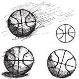De schetsreeks van de basketbalbal op witte achtergrond wordt geïsoleerd die Royalty-vrije Stock Afbeeldingen