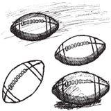 De schetsreeks van de rugby Amerikaanse die Voetbal op witte achtergrond wordt geïsoleerd Stock Foto