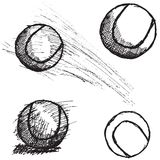 De schetsreeks van de tennisbal op witte achtergrond wordt geïsoleerd die stock illustratie