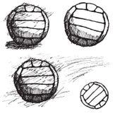 De schetsreeks van de volleyballbal op witte achtergrond wordt geïsoleerd die Royalty-vrije Stock Foto's