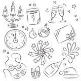 De schetsReeks van het nieuwjaar Vector Illustratie