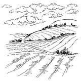 De schetstekening van de landschapsinkt Royalty-vrije Stock Afbeeldingen