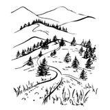 De schetstekening van de landschapsinkt Landelijk gegraveerd landschap Stock Afbeeldingen