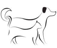 De schetsvector van de kat en van de hond Stock Afbeelding