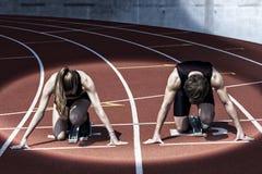 De schijnwerper van het sprinterbegin stock afbeeldingen