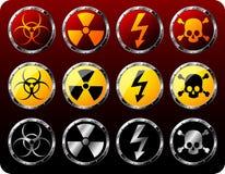 De schilden van het staal met waarschuwingssymbolen Stock Afbeelding