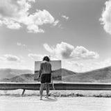 De schilder August 2013 Majella Abruzzo Italië van de straatkunstenaar stock foto's