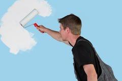De schilder begint zijn werk Stock Foto