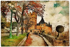 De schilder herfst in Spanje Stock Foto