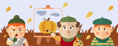 De schilder trekt een de herfstlandschap met een pompoen en wolken royalty-vrije illustratie